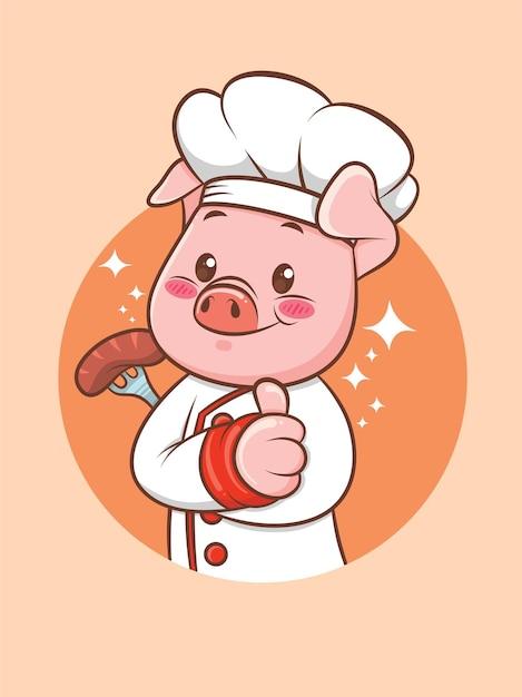 Cuoco unico sveglio del maiale che tiene una salsiccia alla griglia. personaggio dei cartoni animati e illustrazione della mascotte. Vettore Premium