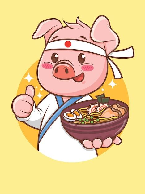 Simpatico chef di maiale che tiene un ramen cibo giapponese. personaggio dei cartoni animati e illustrazione della mascotte. Vettore Premium