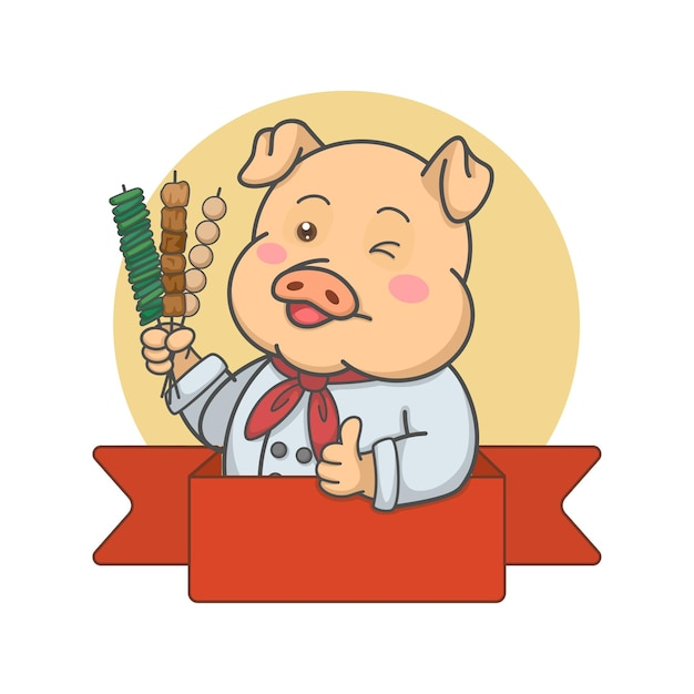 Cuoco unico sveglio del maiale che tiene gli spiedini Vettore Premium