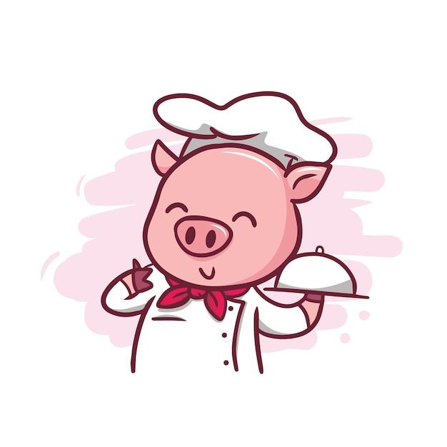 L'illustrazione di chef di maiale carino Vettore Premium