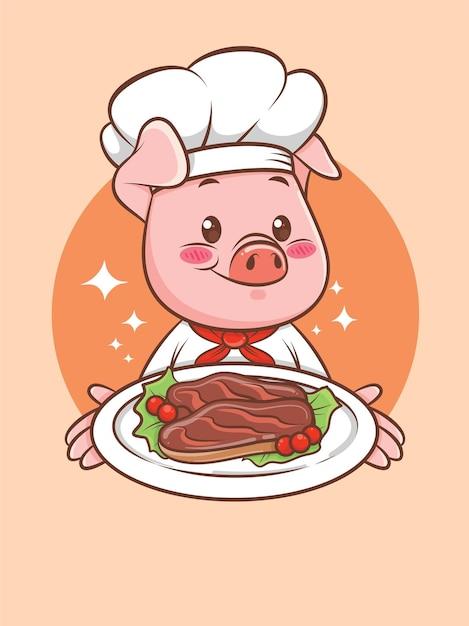 Cuoco unico sveglio del maiale che presenta una bistecca di maiale alla griglia. personaggio dei cartoni animati e illustrazione della mascotte. Vettore Premium