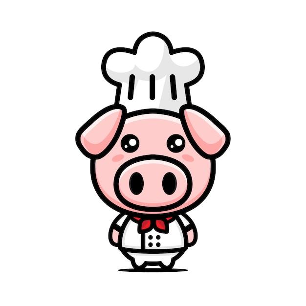Chef di maiale carino Vettore Premium