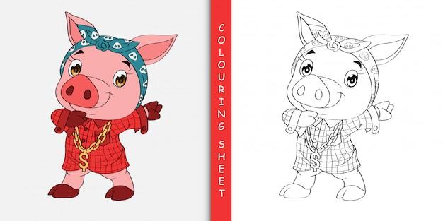 Simpatico cartone animato dabbing maiale, foglio da colorare Vettore Premium