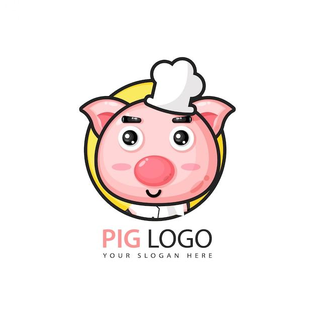 Logo design carino maiale Vettore Premium