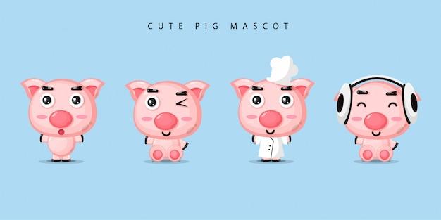 Set di mascotte maiale carino Vettore Premium