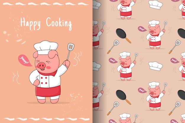 Cuoco unico sveglio del porcellino con il modello e la carta senza cuciture della spatola Vettore Premium