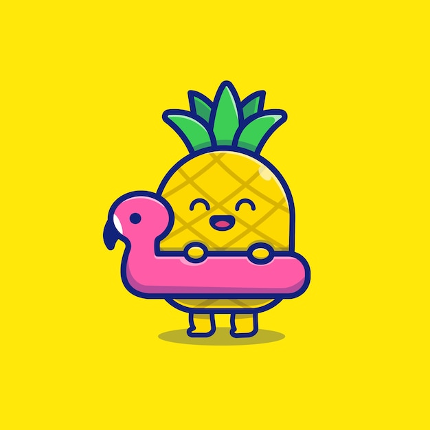 Carino ananas con nuoto flamingo icona illustrazione. concetto dell'icona di frutta estiva. Vettore Premium