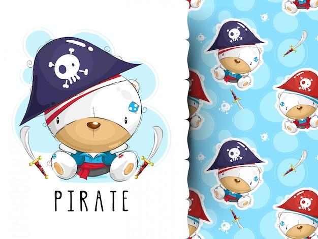 Simpatico design pirata. grafica e motivo t-shirt per bambini Vettore Premium