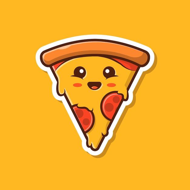 Illustrazione sveglia di vettore della mascotte della pizza. pizza sticker cartoon Vettore Premium