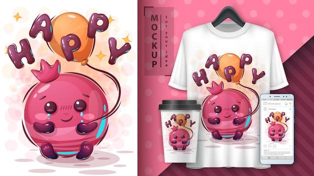 Simpatico poster e merchandising di melograno Vettore Premium