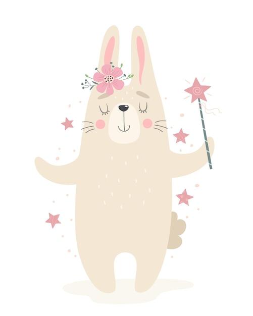 Simpatico coniglio con una bacchetta magica. illustrazione in uno stile piatto. Vettore Premium