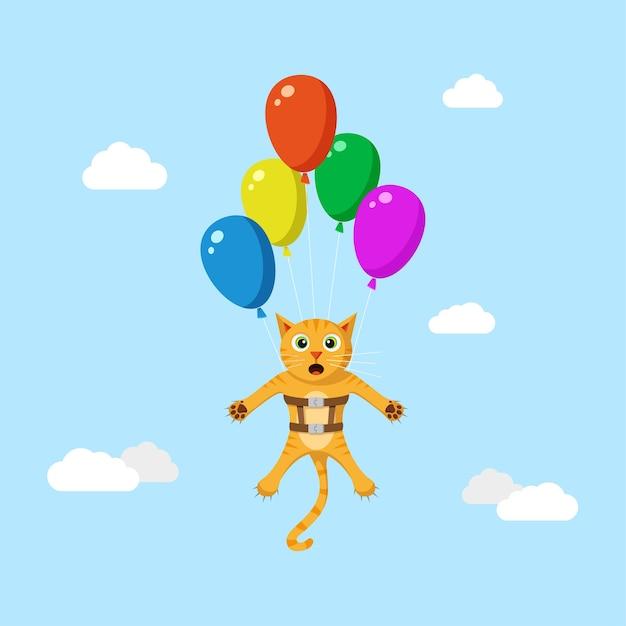 Simpatico gatto rosso divertente volare alto utilizzando palloncini. Vettore Premium