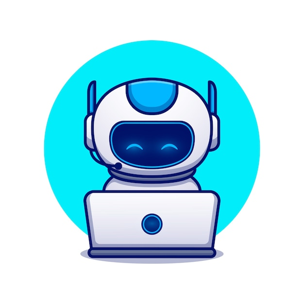 Simpatico robot operativo portatile icona del fumetto illustrazione. concetto dell'icona di scienza tecnologia isolato. stile cartone animato piatto Vettore Premium