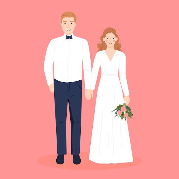 Carina coppia romantica in abito da sposa per la carta di inviti di nozze Vettore Premium