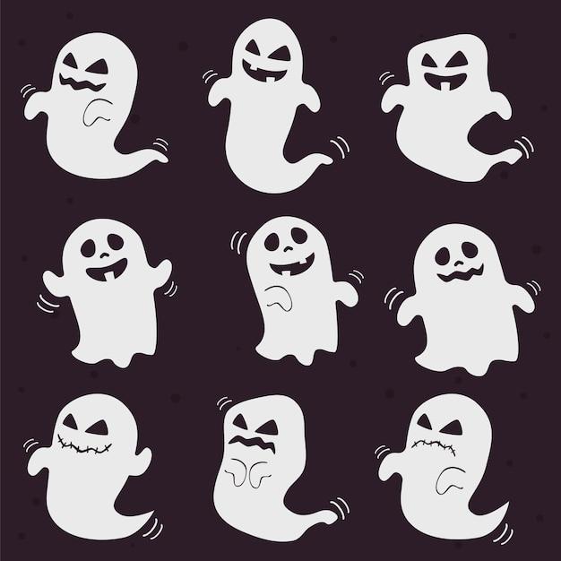 Fantasmi di halloween bianco carino e spaventoso Vettore Premium