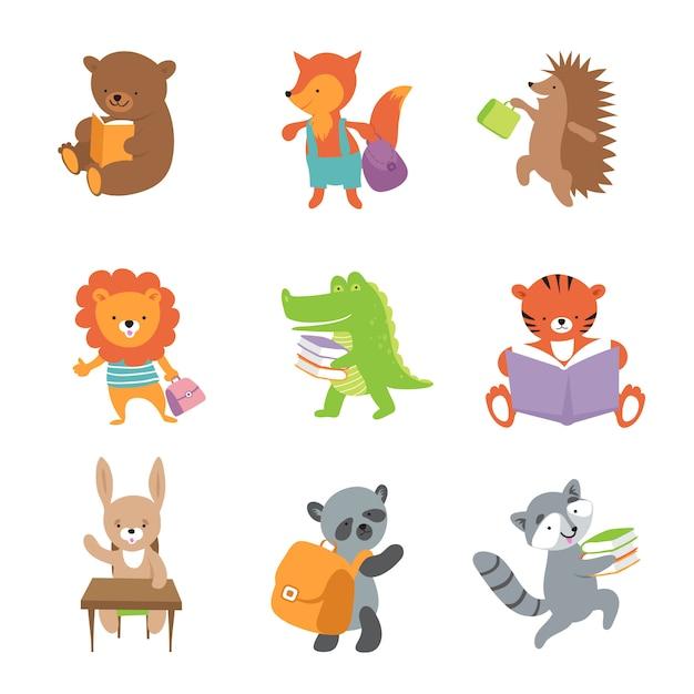 Simpatici animali della scuola. orso e volpe, leone e coccodrillo, tigre e panda. Vettore Premium