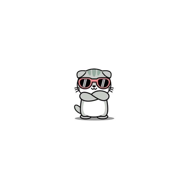 Carino gatto scottish fold con occhiali da sole che attraversano il fumetto di braccia Vettore Premium