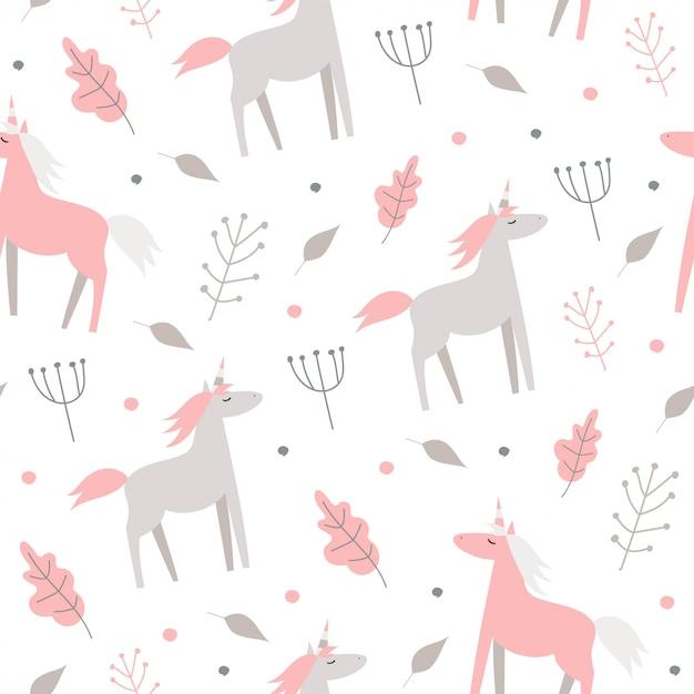 Modello senza cuciture sveglio con cavalli rosa e piante su sfondo bianco. Vettore Premium