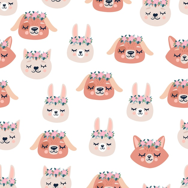Modello senza cuciture sveglio con teste di animali addormentati, fiori. sfondo disegnato a mano con personaggi per bambini, tessuto, cancelleria, vestiti e pigiami in stile scandinavo. Vettore Premium