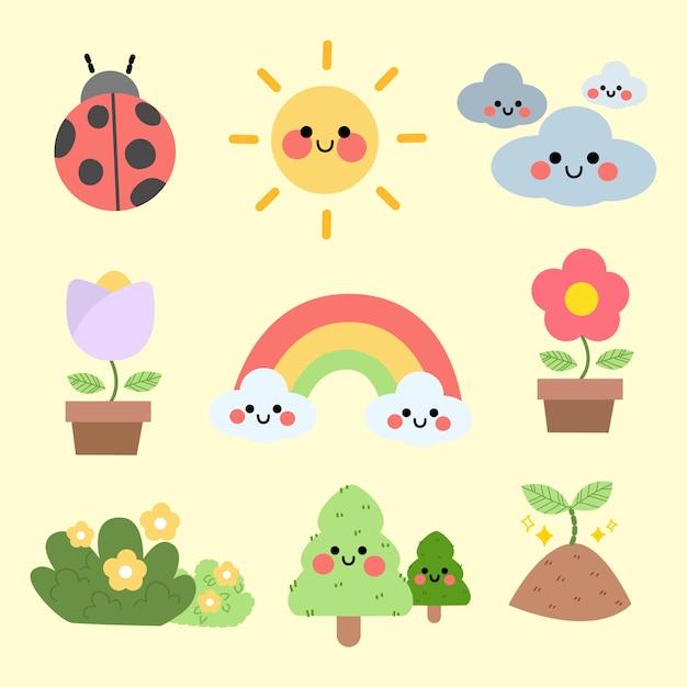 Collezione di asset di illustrazione di carattere carino stagione primavera estate Vettore Premium