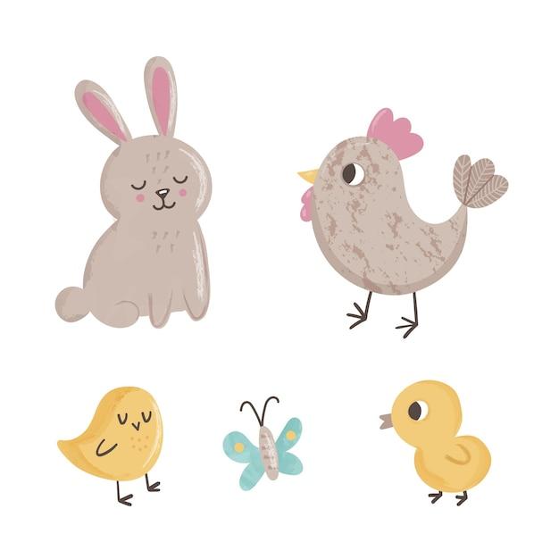 Simpatico set con farfalle di animali primaverili, pulcini, pollo e coniglio su priorità bassa bianca Vettore Premium