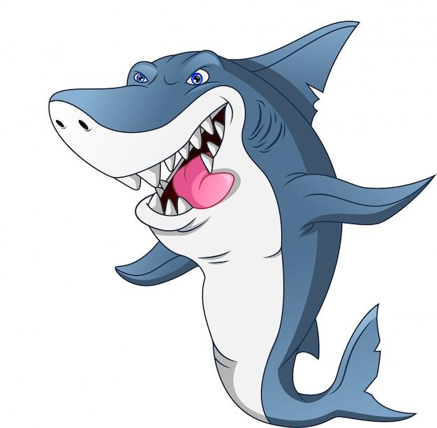 Cartone animato carino squalo Vettore Premium