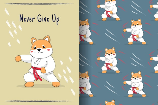 Carino shiba inu martial punch seamless pattern e illustrazione Vettore Premium