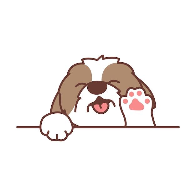 Cartone animato carino shih tzu cane agitando la zampa Vettore Premium
