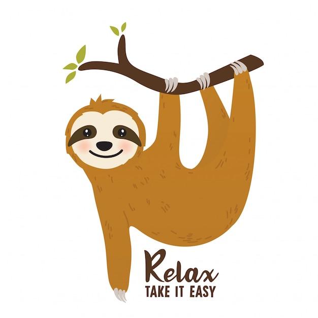 Cartone animato bradipo carino Vettore Premium