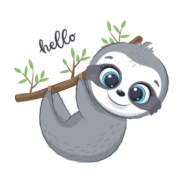 Illustrazione di bradipo carino Vettore Premium