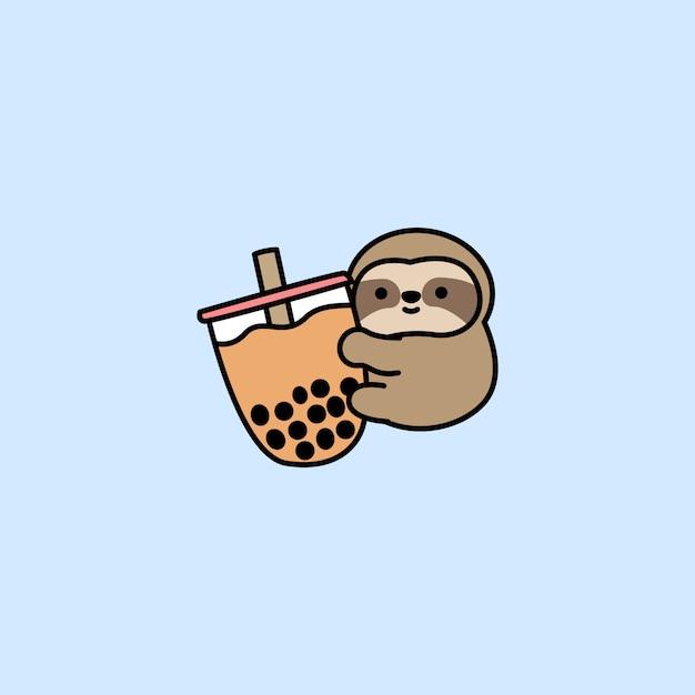 Il bradipo sveglio ama il fumetto del tè della bolla Vettore Premium