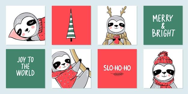 Simpatico bradipo, collezione di buon natale. Vettore Premium
