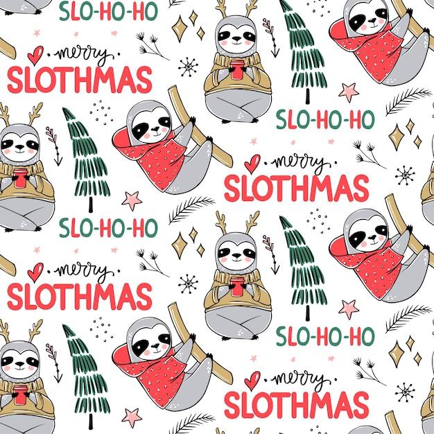 Modello senza cuciture carino bradipo, sfondo accogliente invernale. doodle orso bradipo pigro con brutto maglione, tazza di caffè. design carino vacanze, stampa, carta da imballaggio. Vettore Premium