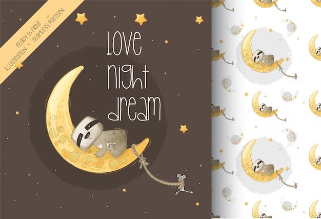 Bradipo sveglio che dorme sull'illustrazione della luna con il modello senza cuciture Vettore Premium
