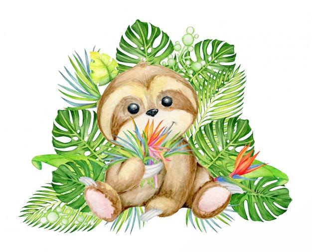 Simpatico bradipo, con un mazzo di foglie e fiori tropicali, Vettore Premium
