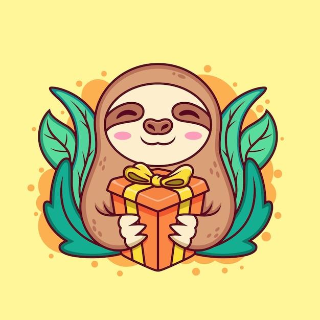 Bradipo carino con confezione regalo. icona del fumetto illustrazione. concetto di icona animale su sfondo giallo Vettore Premium