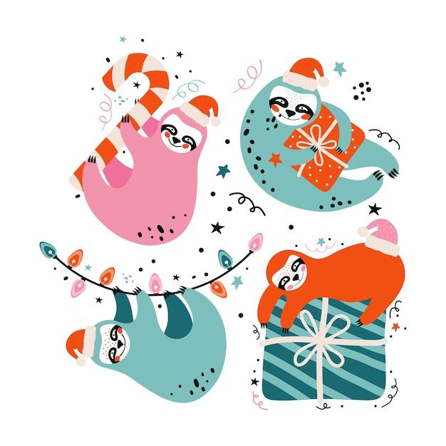 Bradipi carini in cappello della santa con regali, caramelle, elementi festivi. carta di buon natale e felice anno nuovo Vettore Premium