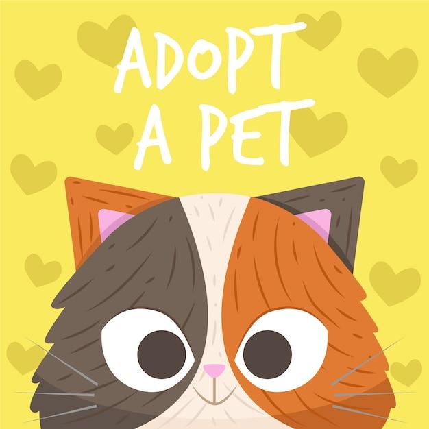 Il gattino sveglio di smiley adotta un concetto dell'animale domestico Vettore Premium