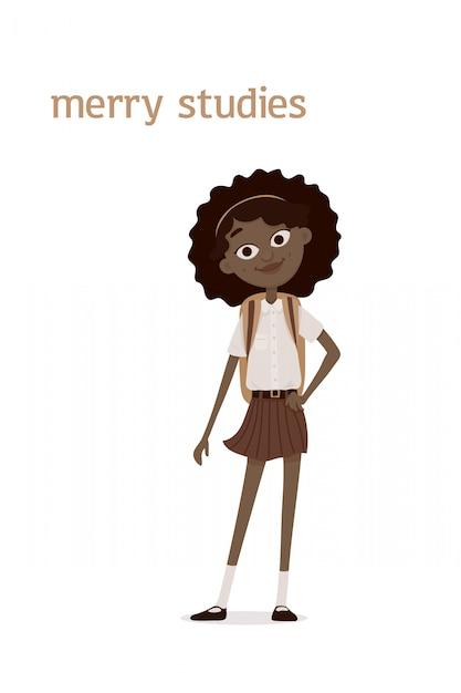 Una ragazza afroamericana sorridente e carina con i capelli ricci castani e una cartella sulle spalle. illustrazione di cartone animato. isolato sullo sfondo bianco Vettore Premium
