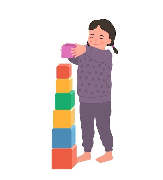 La ragazza sorridente sveglia sta stando tenendo il cubo colorato. bambino che gioca giocattolo in via di sviluppo. giocattoli per bambini piccoli Vettore Premium