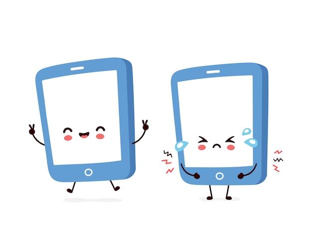 Smartphone felice e triste sorridente sveglio Vettore Premium