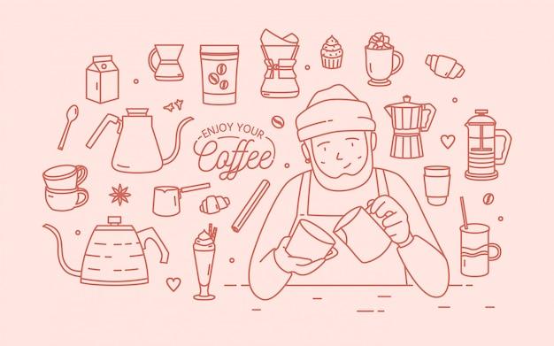 Personaggio dei cartoni animati maschio sorridente sveglio che indossa cappello e grembiule circondato da dessert, spezie e strumenti per la preparazione del caffè disegnati con linee di contorno in colore rosa. illustrazione in stile lineart. Vettore Premium