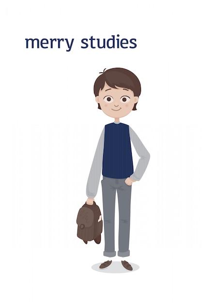 Un simpatico ragazzo di scuola in piedi con i capelli castani e una cartella in mano in jeans grigi e gilet blu. illustrazione di cartone animato. isolato sullo sfondo bianco Vettore Premium