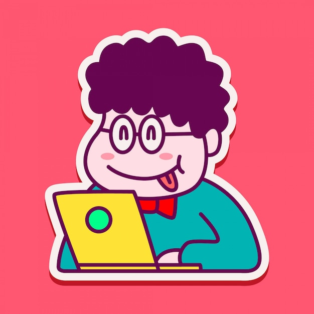 Simpatico personaggio adesivo per ragazzi che giocano a laptop Vettore Premium