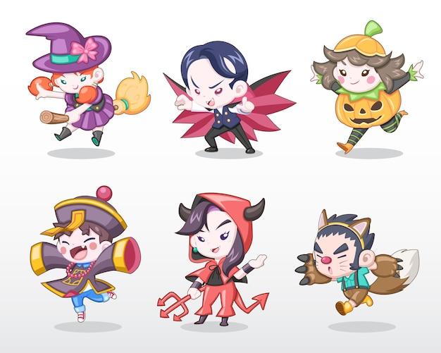 Insieme di stile carino di bambini in costume di halloween Vettore Premium