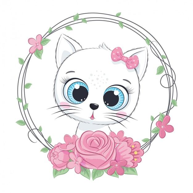 Simpatico gatto estivo bambino con ghirlanda di fiori. illustrazione vettoriale per baby shower, cartolina d'auguri, invito a una festa, stampa t-shirt vestiti moda. Vettore Premium