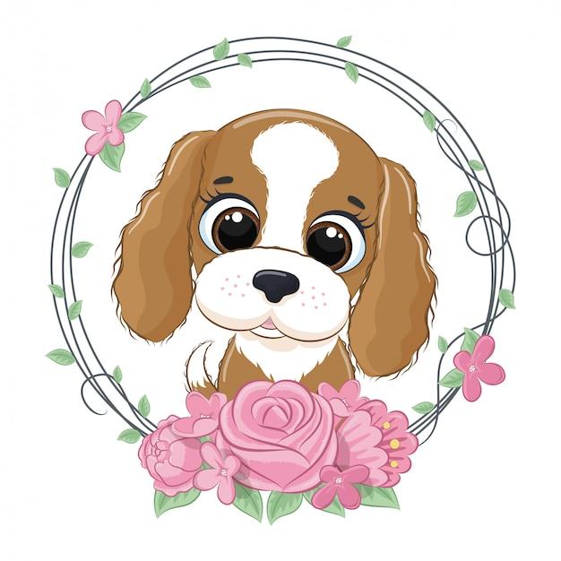 Simpatico cagnolino estivo con ghirlanda di fiori. illustrazione vettoriale per baby shower, cartolina d'auguri, invito a una festa, stampa t-shirt vestiti moda. Vettore Premium