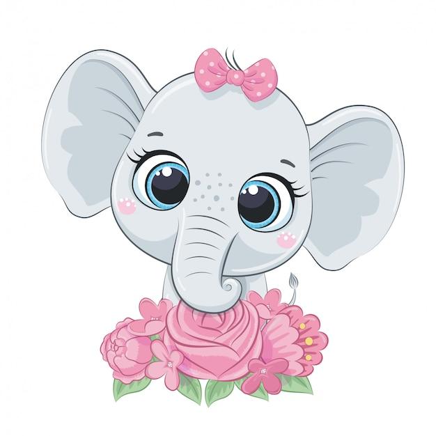 Elefante sveglio del bambino di estate con i fiori. illustrazione vettoriale per baby shower, cartolina d'auguri, invito a una festa, stampa t-shirt vestiti moda. Vettore Premium
