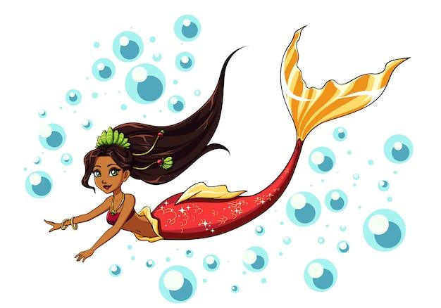 Design carino sirena da nuoto. ragazza del fumetto con capelli castani e coda di pesce rossa. isolato su sfondo bianco e bolle. modello per biglietti da visita, quaderno, negozio, poster. Vettore Premium