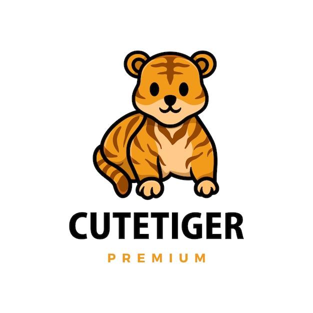 Illustrazione sveglia dell'icona di logo del fumetto della tigre Vettore Premium